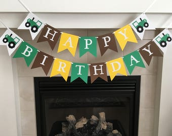 Farm Birthday Banner, Tractor Birthday Banner, Happy Birthday Banner, Farm Birthday, Tractor Birthday, Birthday Party Banner, Boy Birthday