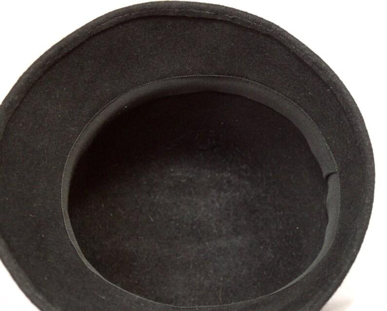 Felt fur hat,Black felt Cloche hat new look style millinery boutique hat hat by milliner Hat vintage 1960 High cap cloche hat