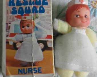 Rescue Squad Nurse Mini Bean Matchbox Doll Mini Beanie 1970 s Tiny Toy with  Box Made in Hong Kong 3e3ab1b99d60