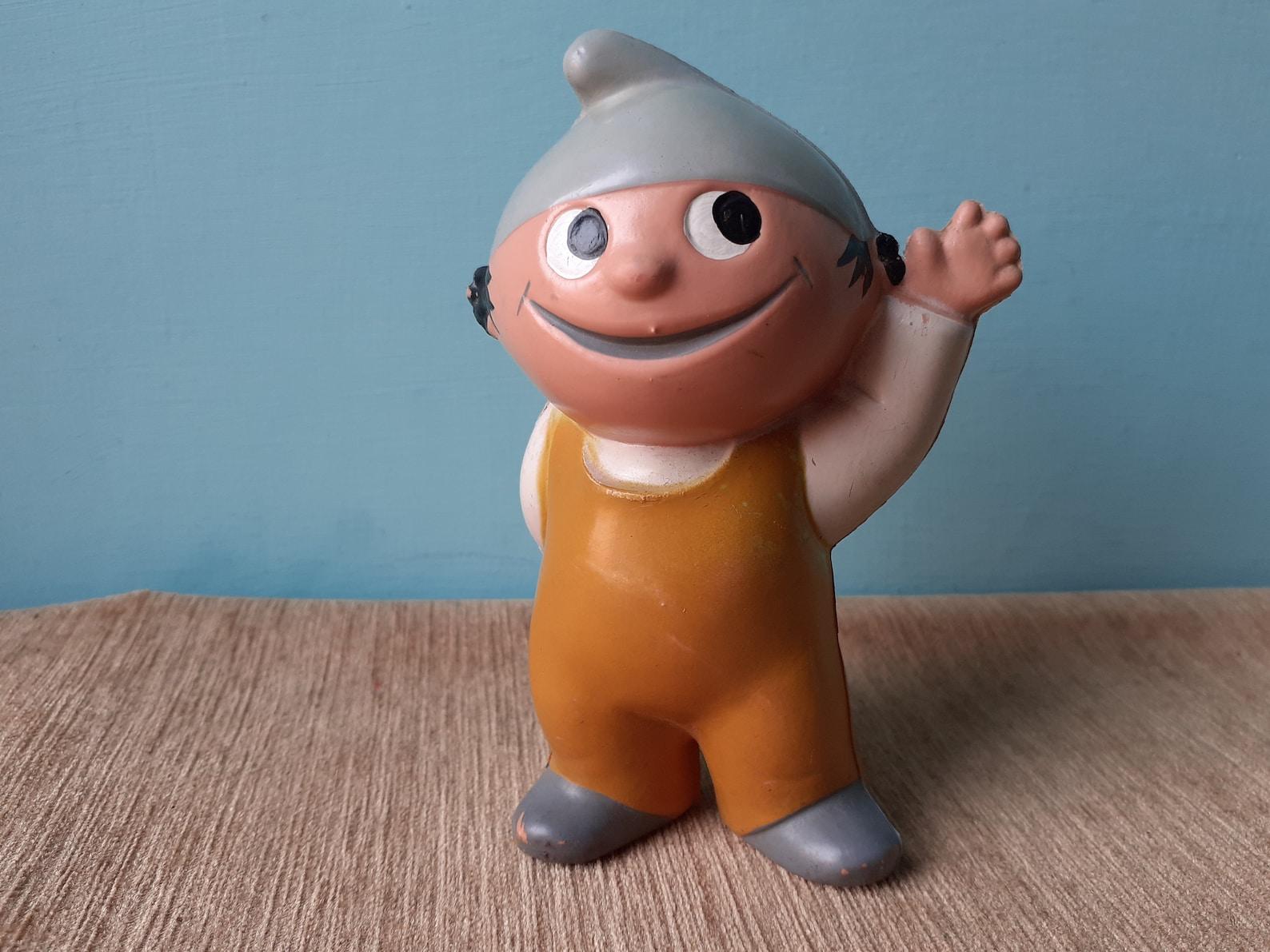 Goebel Hummel ZDF Mainzelmännchen Conni Rubber Plastic Waving Toy in Overalls German Cartoon 1960s