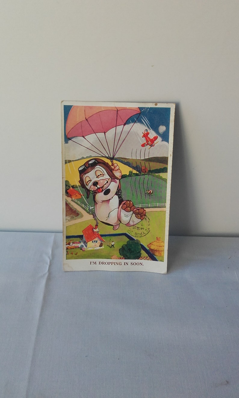 Franked in Bury St Edmunds Vintage Bonzo The Dog I/'m dropping in soon 1952 Kitsch Picture Postcard Collectable Nostalgic.