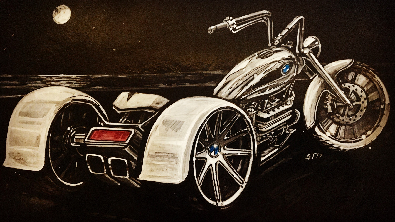 Custom bike, custom bike art, custom BMW bike art, bike painting, boys  room, custom art, automotive enthusiasts, BMW tricycle, BMW art, gift