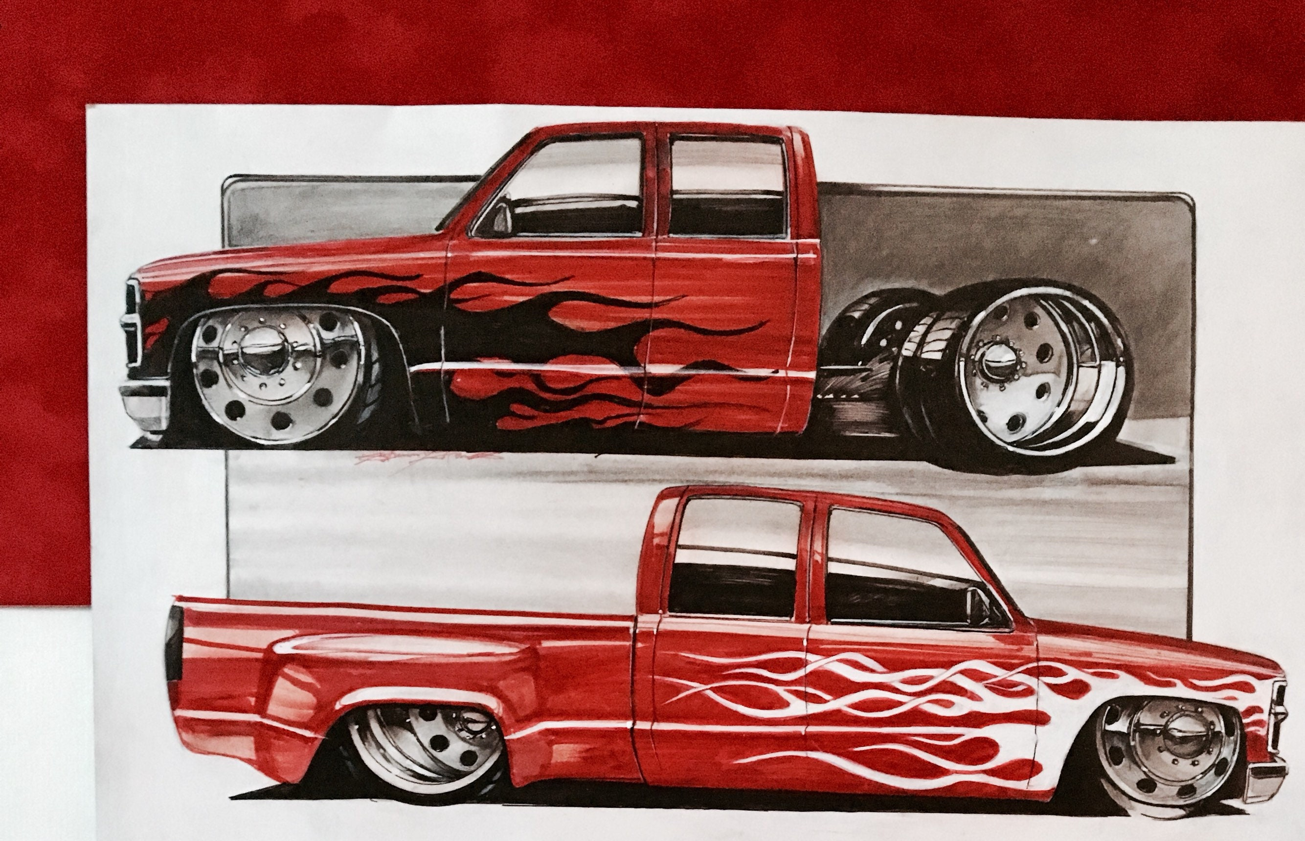 Chevy Wall Art Bagged Truck Hotrod Etsy 1949 Image 0 1
