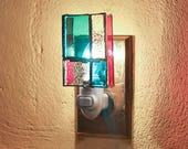 Prarie Style Nightlight - Blue and Red Glass