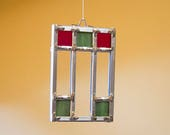Prairie Style Stained Glass Christmas Ornament, Red and Green, or Blue and Teal.
