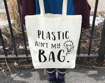 a6b5cf497b Tote Bag, Think Green, Eco Friendly Market Bag, Plastic Ain't My Bag, Vinyl  Print, Shopper, Reusable, Plastic, Hipster Tote, Typography