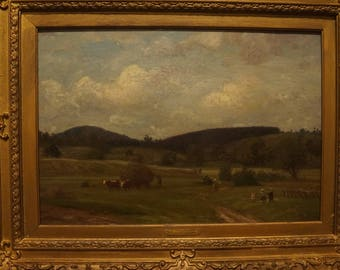 """Sold! 1800s Listed Impressionist Painting FRENCH Oil Canvas by K Peter Burnitz lrg Extensive Auction Records Sotheby's,Christie's,33"""" by 26"""""""