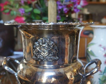 SOLD SOLDAntique Sheffield large Silver Plate Champagne Wine Cooler marked with Hallmarks