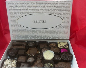 Chocolates with the Be Still Box Lid or choose from over forty lid titles! Gourmet Boxed Chocolates.