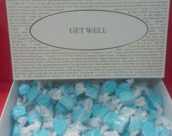 Blue Raspberry Saltwater Taffy with choice of Gift Box Lid over forty titles to choose from! See List.