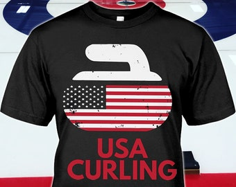36d3e12bc USA Curling Shirt - Curling Gifts - Curling Tshirt - Curling Sport Mug -  American Curling Hoodie - New Womens Curling Tee - Up to 5XL Sizes!