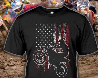 Dirt Bike Tee - Motocross Shirt for Fans - USA Flag Dirt Bike Gift -  Motocross Hoodie - Dirt Bike Birthday - Motocross Gift Sizes up to 5XL! 68731c302