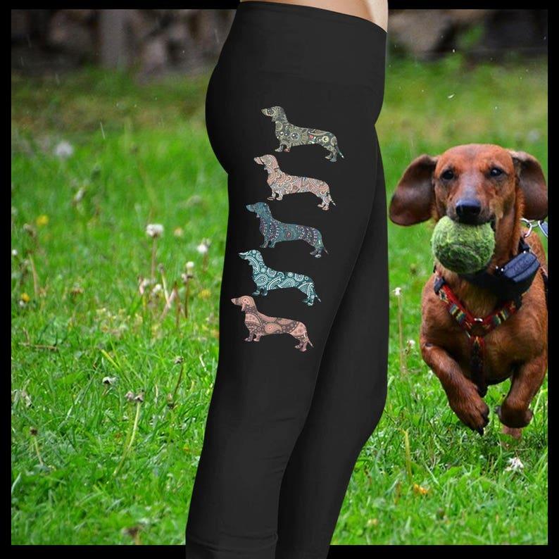 2b98467fc08aa Dachshund Yoga Pants Doxie Leggings Dachshund Mom Doxie   Etsy