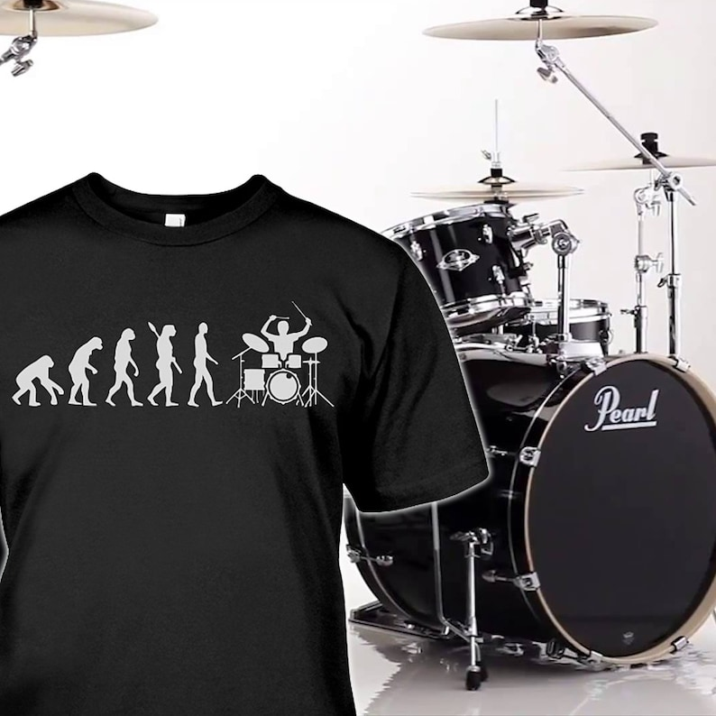 d44efbde3 Drums Shirt Drummer Gifts Evolution of Drums Tshirt   Etsy