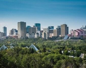 "Edmonton Skyline Summer Postcard 4""x6"" Edmonton, Alberta, Canada."