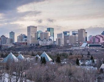 "Winter Skyline 4""x6"" Edmonton, Alberta, Canada."