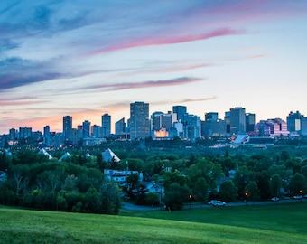 "Edmonton Sunset Postcard 4""x6"" Edmonton, Alberta, Canada."
