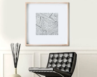 Abstract Painting, Geometric Art Abstract Art, Original Large Wall Art Black and White Painting Minimalist Art Australian Art