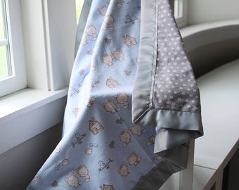 Baby Foxes Blanket, 100% Cotton, Baby Blanket, Flannel, Blanket, Swaddle Blanket, Stroller Blanket, Boy Blanket, Blue, Grey, Baby Gift, Kids