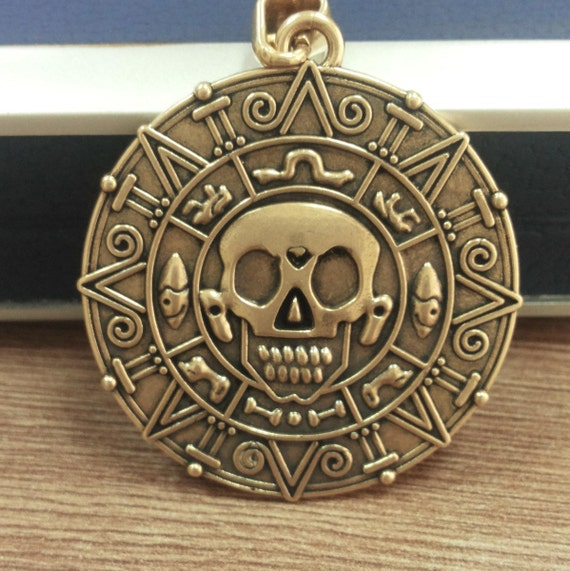 6 stücke Vintage Medaillon Schädel Piraten Karibik Aztec Münze Anhänger