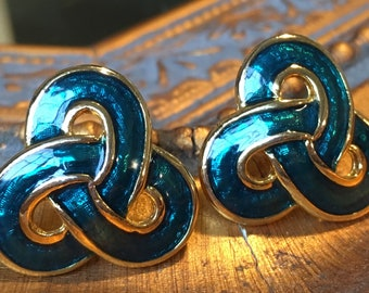 Enameled Blue Earrings
