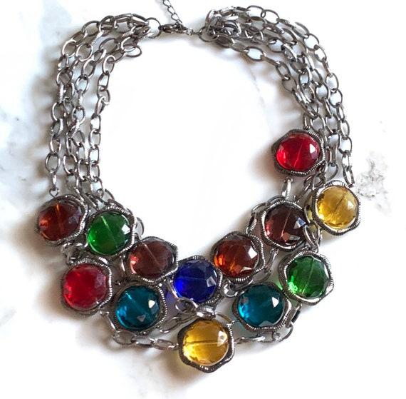 Bold Colored Glass Multi Strand Chain Necklace