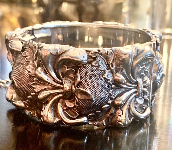 Whiting and Davis Wide Silver Bracelet