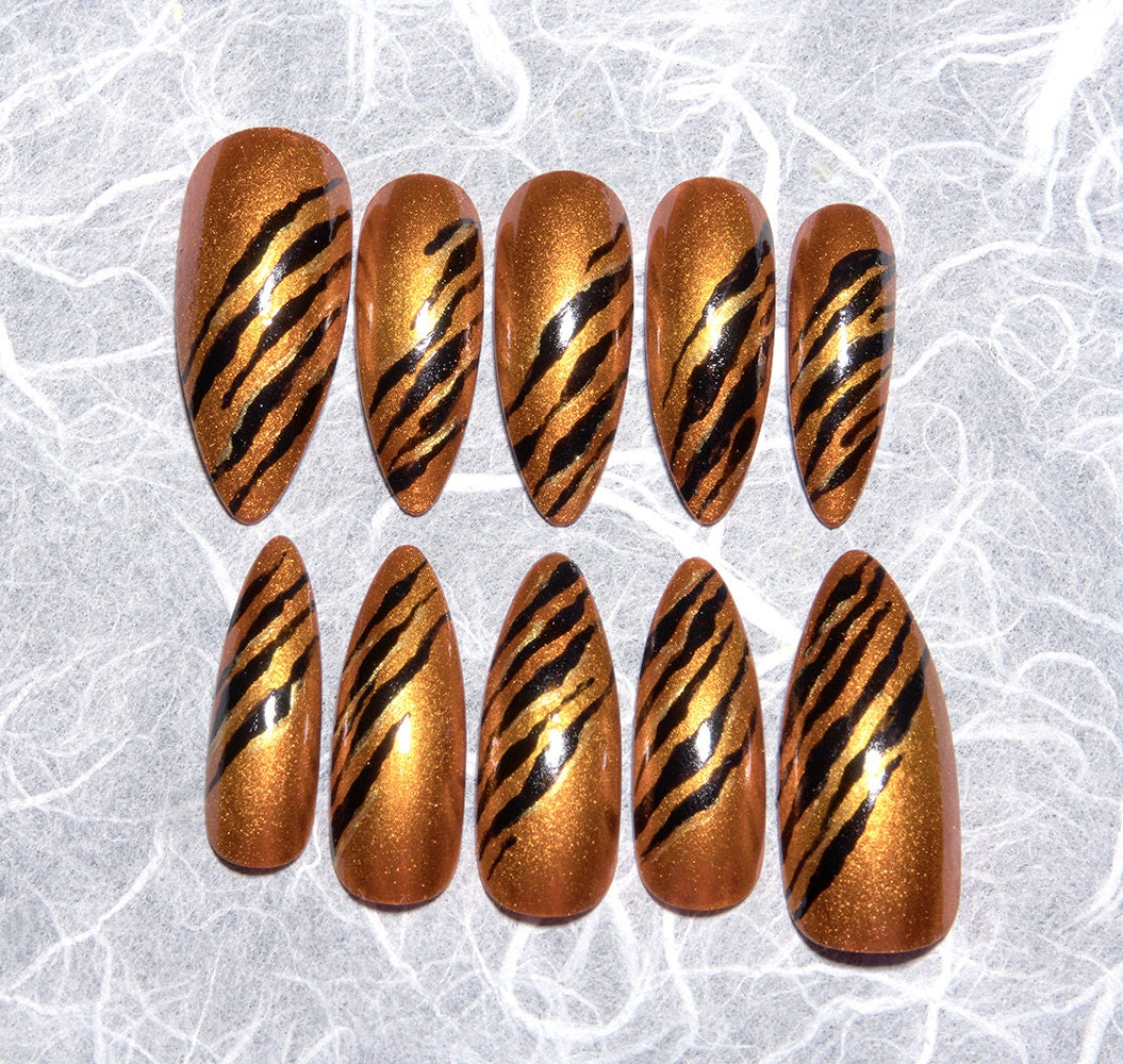 Orange and Black Fake Nails   Tiger Stripe   Animal Print   False ...