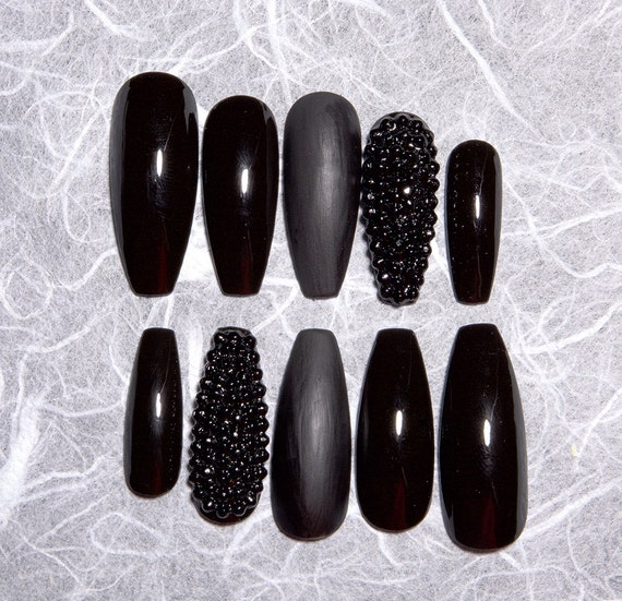 Black Fake Nails With Rhinestones Matte Black Fake Nails Etsy