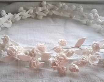 White flower halo, crown of white mini roses, simple flower crown, bridal hair vine crown, bridesmaids hair accessory, communion crown