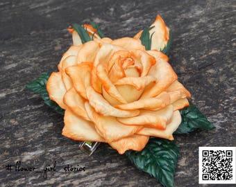 Orange cabbage rose, Floral hairclip, Foam realistic rose in hair, Flower hair décor, Autumn hairclip, Big Baby Orange Rosette Flower Clip