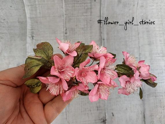 Sakura Hair Clip Pink Cherry Blossom For Bride Pink Bridal Etsy