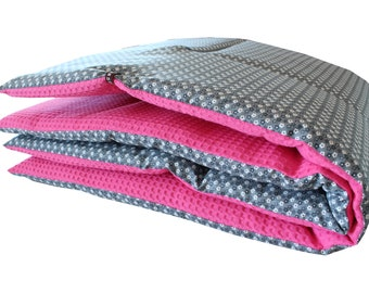 Baby blanket 100x100cm- reversible blanket - baby blanket hand stitched quilted lined gift birth baby gift idea girl