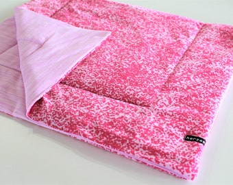 Lightweight baby blanket - reversible blanket - 90cm x 55cm pink dots hand-stitched quilted gift birth baby gift idea girl