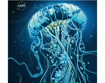 Poster / poster NASA Earth Day Jellyfish 50x70cm