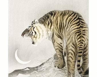 Poster A3 Roaring Tiger Japanese Print