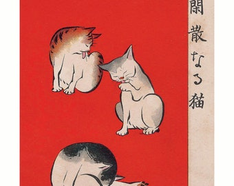 Poster A3 Japanese print Quiet Cats