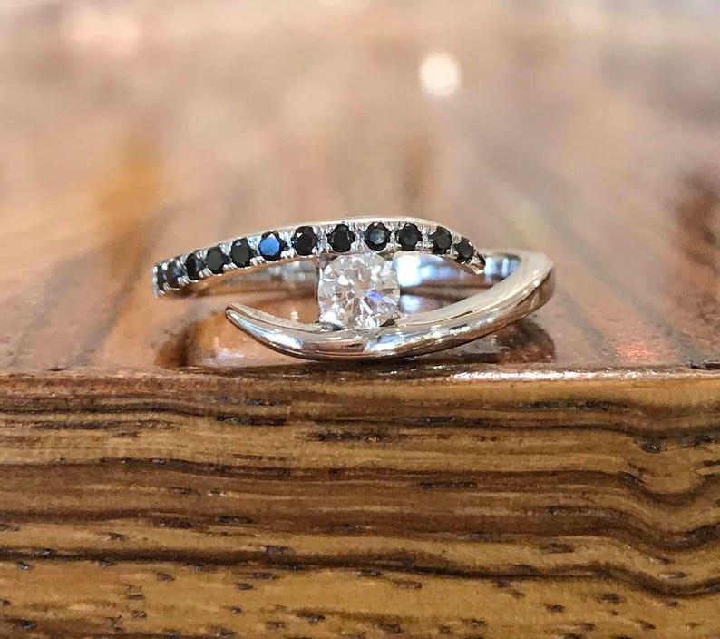 06e93ef9b3 Diamond Engagement Ring 14K White Gold Ring Anniversary | Etsy