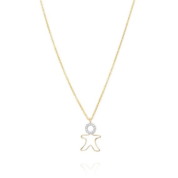 Children Diamonds Necklace 14k White Gold Boy Girl Charm For Etsy