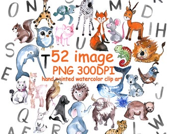 Watercolor ABC animal clipart for instant download