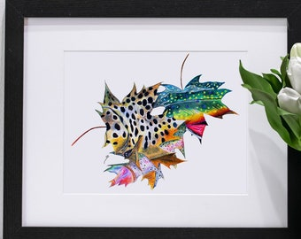 Original and Giclee Fish Print Autumn Trout Leaves / Brown Brook Rainbow Trout / Fall Season / Fly Fishing Fly Tying Fishing Prints