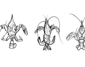 Crustacean Fleur De Lis Ink | Giclee Prints