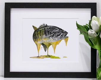 Melting Smallmouth Bass Pastel | Giclee Prints