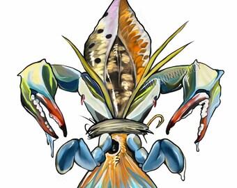 Fleur De Lis Redfish and Crab Print | Giclee Prints