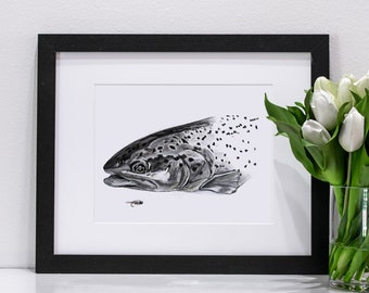Brown Trout Charcoal | Giclee Prints