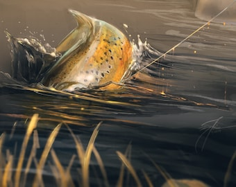 Brown Trout Contact | Take Series | Trout Fishing | Fly fishing Art | Fly Fishing Artwork | Rainbow Trout Brook Trout Art Prints