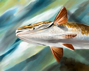 Redfish to Fly Painting | Canvas and Giclee Prints