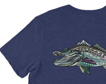 Gator Trout Triblend Short Sleeve Shirt / The Bonnie Fly Apparel / Speckled Trout Art / Fishing Shirt / Soft Comfortable Saltwater Shirts