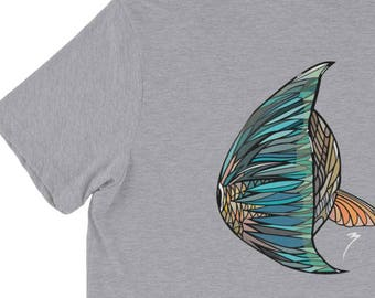 Redfish Swimming Short Sleeve Triblend Shirt / Red Drum Artwork / Saltwater Apparel / Soft Comfortable Shirts / The Bonnie Fly Apparel