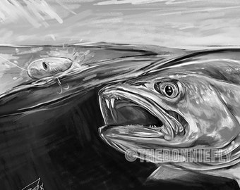 Speckled Trout Sketch / Fishing Portrait / Trout Digital Artwork Painting / Archival Canvas Print / The Bonnie Fly Brandon Finnorn Fish Art
